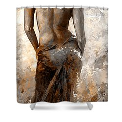 Lady In Red #27 Digital Colored Rust Shower Curtain by Emerico Imre Toth