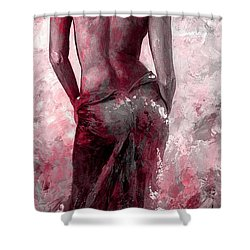Lady In Red #27 Digital Colored Version Red Shower Curtain