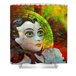 Shower Curtain featuring the mixed media Lady In Red by Ally  White