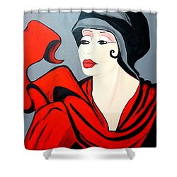 Lady In Red  Art Deco Shower Curtain