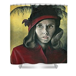 Shower Curtain featuring the painting Lady In Red by Mary Ellen Anderson