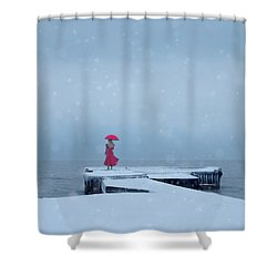 Lady In Red On Snowy Pier Shower Curtain