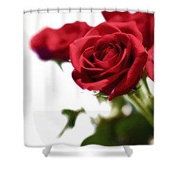 Lady In Red Shower Curtain by Scott Pellegrin