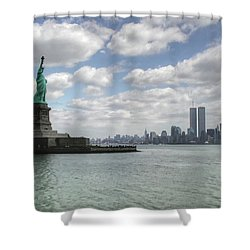 Lady Liberty And New York Twin Towers Shower Curtain