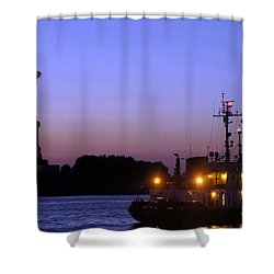 Shower Curtain featuring the photograph Lady Liberty At Dusk by Lilliana Mendez