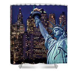 Lady Liberty By Night Shower Curtain by Delphimages Photo Creations