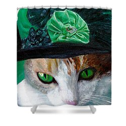 Lady Little Girl Cats In Hats Shower Curtain by Michele Avanti