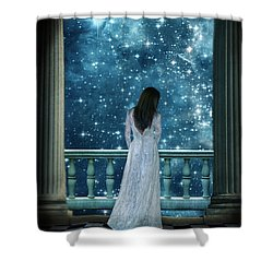 Lady On Balcony At Night Shower Curtain