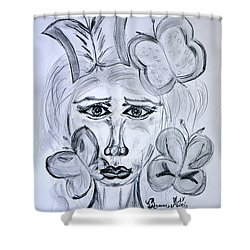 Shower Curtain featuring the drawing Lady Queen Of Butterflies by Ramona Matei