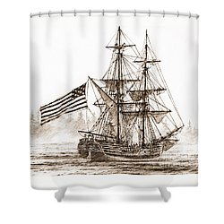 Lady Washington At Friendly Cove Sepia Shower Curtain by James Williamson