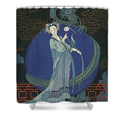 Lady With A Dragon Shower Curtain by Georges Barbier