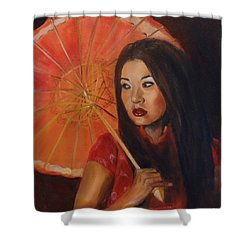 Shower Curtain featuring the painting Lady With A Parasol by Jenny Lee