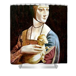 Shower Curtain featuring the painting Lady With An Ermine by Henryk Gorecki