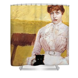 Lady With Black Kitten Shower Curtain by Giuseppe De Nittis
