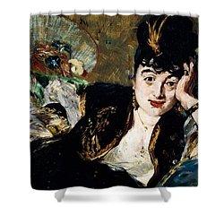 Lady With Fan Portrait Of Marie Anne De Callias Known As Nina De Callias Shower Curtain by Edouard Manet