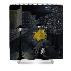Lady With Yellow Umbrella And White Dog Shower Curtain