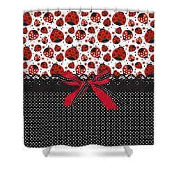 Ladybug Energy  Shower Curtain by Debra  Miller