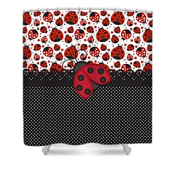 Ladybug Mood  Shower Curtain by Debra  Miller