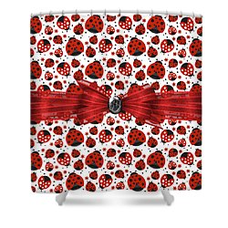 Ladybug Obsession  Shower Curtain by Debra  Miller