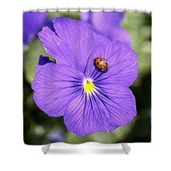 Ladybug On Flower Shower Curtain