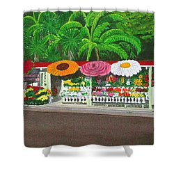 Laguna Beach Flower Stand Shower Curtain by Mike Robles