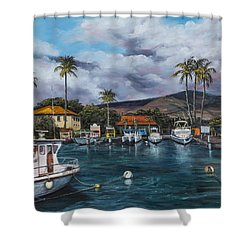 Shower Curtain featuring the painting Lahaina Harbor by Darice Machel McGuire