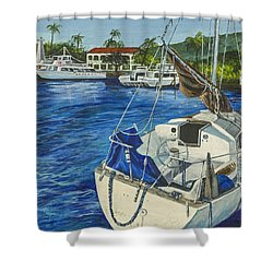 Shower Curtain featuring the painting Lahaina Yacht by Darice Machel McGuire