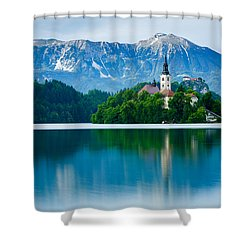 Lake Bled Island Church Shower Curtain