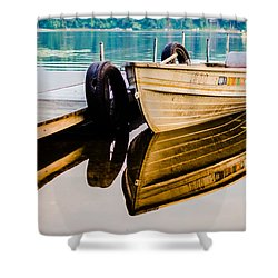 Lake Boat Reflection Shower Curtain