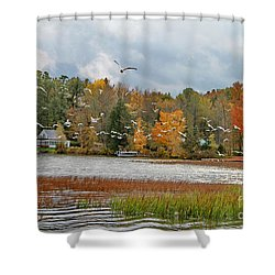 Lake Carmi Autumn 2012 Shower Curtain by Deborah Benoit