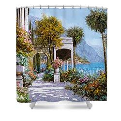 Lake Como-la Passeggiata Al Lago Shower Curtain by Guido Borelli