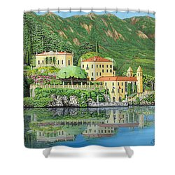 Shower Curtain featuring the painting Lake Como Morning by Jane Girardot
