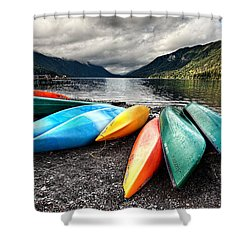 Lake Crescent Kayaks Shower Curtain by Ian Good