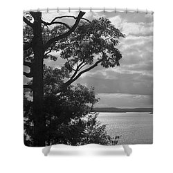 Lake Framed By Trees In Black And White Shower Curtain