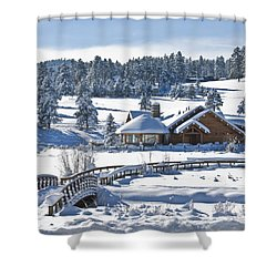 Lake House In Snow Shower Curtain by Ron White