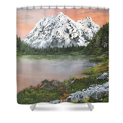 Shower Curtain featuring the painting Lake In Austria by Jean Walker