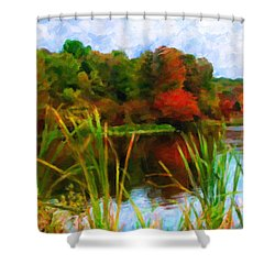 Lake In Early Fall Shower Curtain