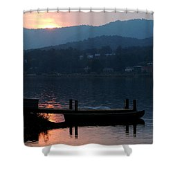 Lake J Sunset Shower Curtain by Craig T Burgwardt