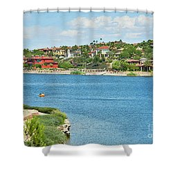 Shower Curtain featuring the photograph Lake Las Vegas In May by Emmy Marie Vickers