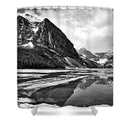 Lake Louise - Black And White #3 Shower Curtain