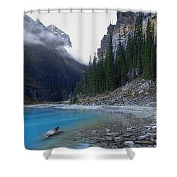 Lake Louise North Shore - Canada Rockies Shower Curtain by Daniel Hagerman