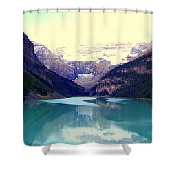 Lake Louise Stillness Shower Curtain by Karen Wiles