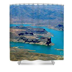 Lake Mead Aerial Shot Shower Curtain by John Malone