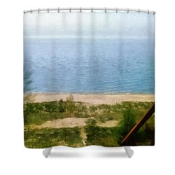 Lake Michigan Staircase Shower Curtain by Michelle Calkins