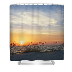 Lake Michigan Sunset With Dune Grass Shower Curtain by Mary Lee Dereske