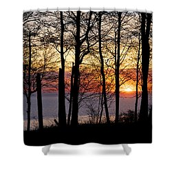 Lake Michigan Sunset With Silhouetted Trees Shower Curtain
