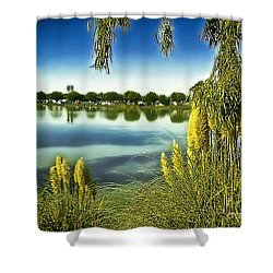 Lake Mindon Campground California Shower Curtain by Bob and Nadine Johnston