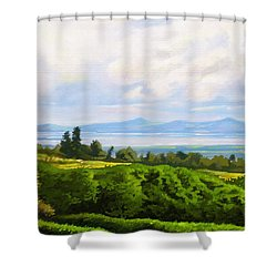 Shower Curtain featuring the painting Lake Naivasha From Home by Anthony Mwangi