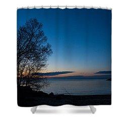 Shower Curtain featuring the photograph Lake Ontario Blue Hour by Georgia Mizuleva