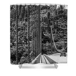 Lake Oroville Bridge Black And White Shower Curtain